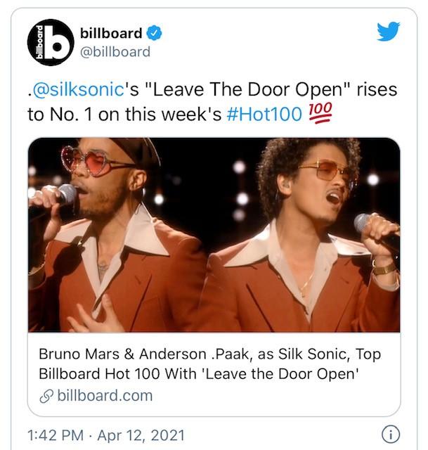"BRUNO MARS & ANDERSON .PAAK'S ""LEAVE THE DOOR OPEN"" HITS NO. 1"