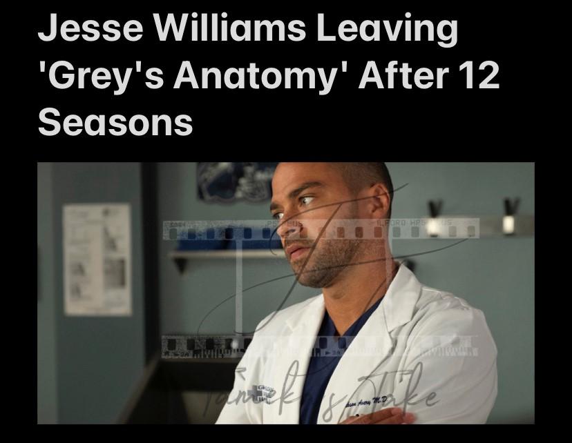 Jesse Williams Leaving 'Grey's Anatomy' After 12 Seasons