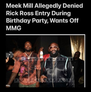 Meek Mill Allegedly Denied Rick Ross Entry During Birthday Party